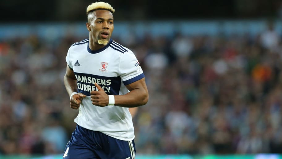 BIRMINGHAM, ENGLAND - MAY 15: Adama Traore of Middlesbrough during the Sky Bet Championship Play Off Semi Final:Second Leg match between Aston Villa and Middlesbrough at Villa Park on May 15, 2018 in Birmingham, England. (Photo by James Williamson - AMA/Getty Images)