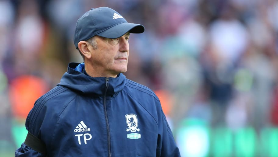 BIRMINGHAM, ENGLAND - MAY 15: Middlesbrough Manager Tony Pulis during the Sky Bet Championship Play Off Semi Final:Second Leg match between Aston Villa and Middlesbrough at Villa Park on May 15, 2018 in Birmingham, England. (Photo by James Williamson - AMA/Getty Images)