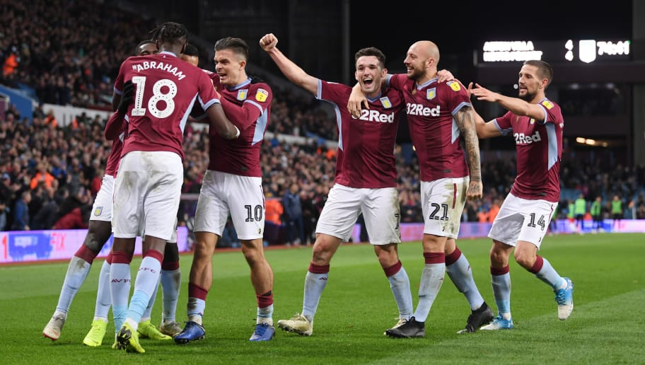 BIRMINGHAM, ENGLAND - NOVEMBER 28:  Anwar El Ghazi of Aston Villa is mobbed by team mates after scoring to make it 5-4 during the Sky Bet Championship match between Aston Villa and Nottingham Forest at Villa Park on November 28, 2018 in Birmingham, England.  (Photo by Laurence Griffiths/Getty Images)