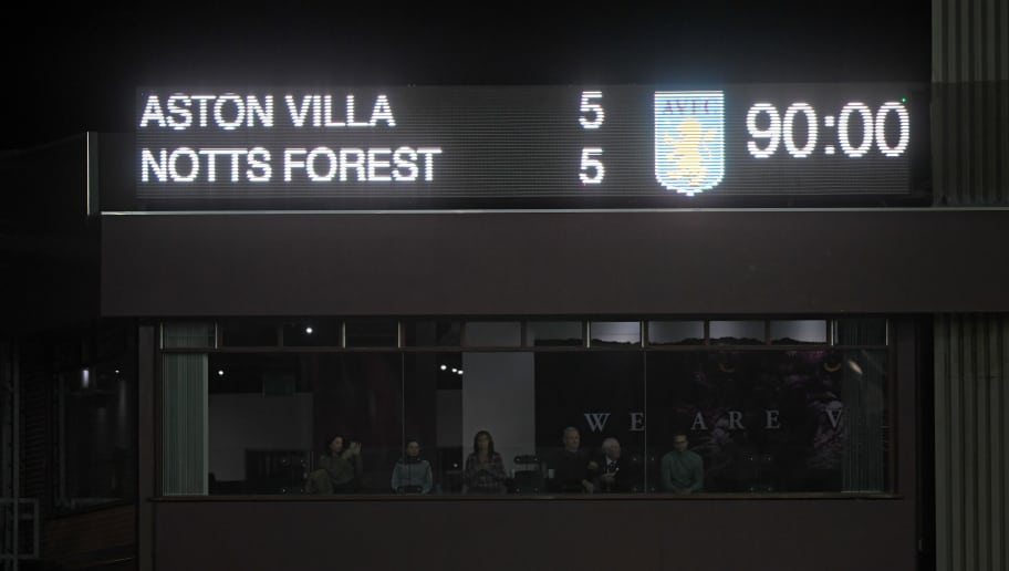 BIRMINGHAM, ENGLAND - NOVEMBER 28:  A general view of the scoreboard during the Sky Bet Championship match between Aston Villa and Nottingham Forest at Villa Park on November 28, 2018 in Birmingham, England.  (Photo by Laurence Griffiths/Getty Images)