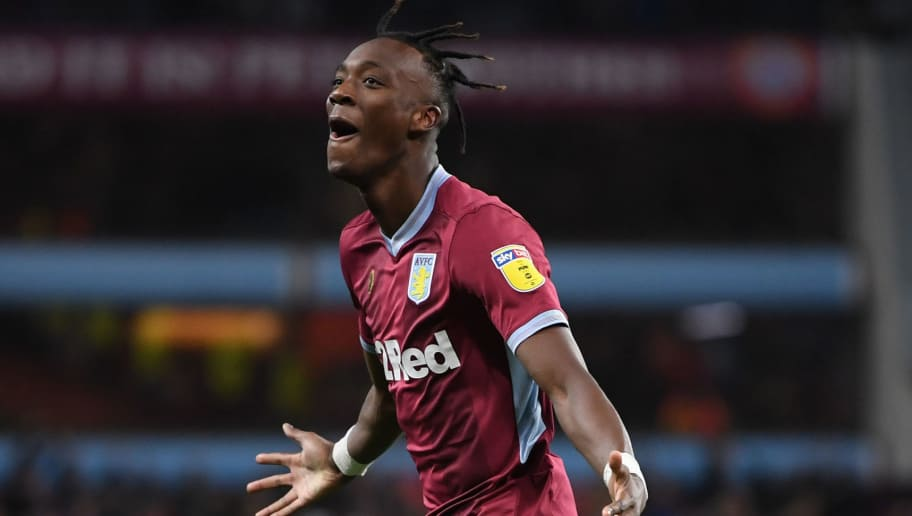 BIRMINGHAM, ENGLAND - NOVEMBER 28:  Tammy Abraham of Aston Villa celebrates scoring to make it 4-4 during the Sky Bet Championship match between Aston Villa and Nottingham Forest at Villa Park on November 28, 2018 in Birmingham, England.  (Photo by Laurence Griffiths/Getty Images)