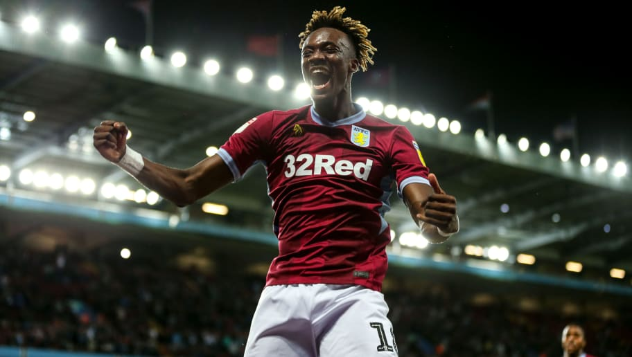 BIRMINGHAM, ENGLAND - SEPTEMBER 18: Tammy Abraham of Aston Villa celebrates after scoring a goal to make it 1-0 during the Sky Bet Championship match at Villa Park on September 18, 2018 in Birmingham, England. (Photo by Robbie Jay Barratt - AMA/Getty Images)