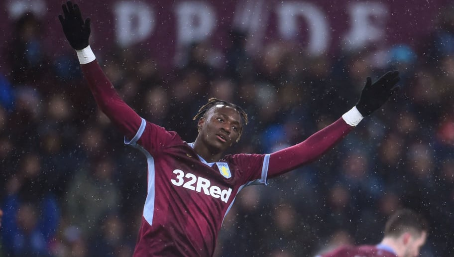 BIRMINGHAM, ENGLAND - DECEMBER 15: Tammy Abraham of Aston Villa celebrates as he scores a penalty during the Sky Bet Championship match between Aston Villa and Stoke City at Villa Park on December 15, 2018 in Birmingham, England. (Photo by Nathan Stirk/Getty Images)