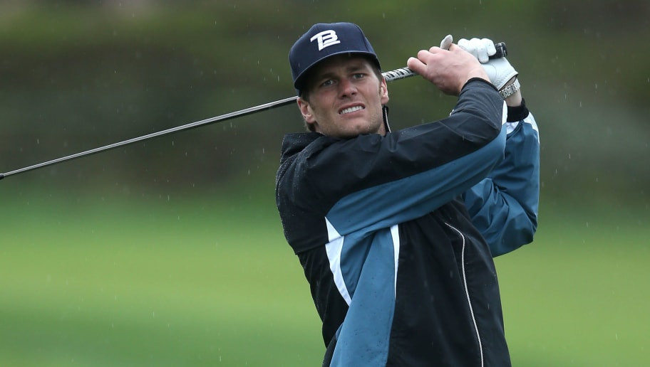 PEBBLE BEACH, CA - FEBRUARY 07:  New England Patriots quarterback Tom Brady hits a tee shot during the second round of the AT&T Pebble Beach National Pro-Am at the Monterey Peninsula Country Club on February 7, 2014 in Pebble Beach, California.  (Photo by Jeff Gross/Getty Images)