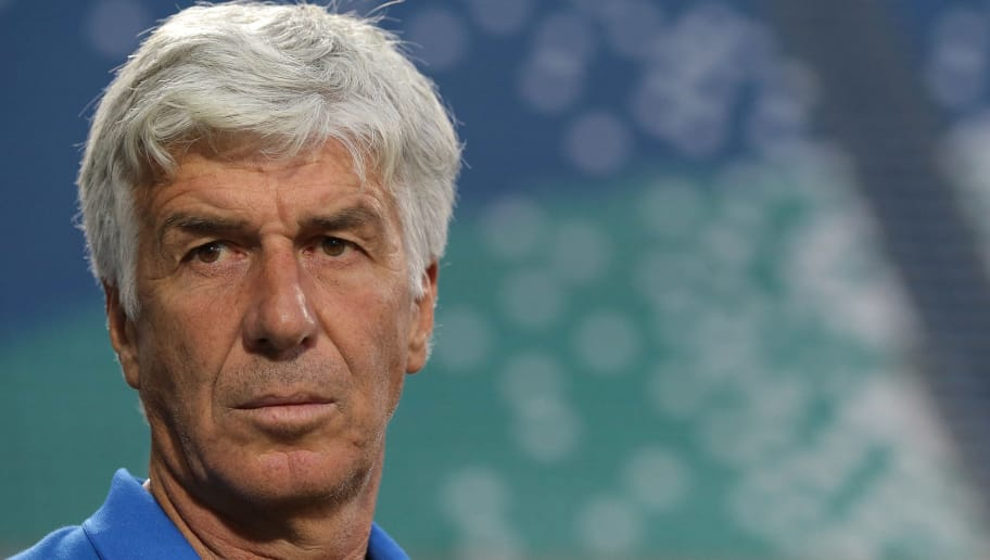 REGGIO NELL'EMILIA, ITALY - AUGUST 23:  Atalanta BC coach Gian Piero Gasperini looks on before the UEFA Europa League Play-Off first leg match between Atalanta BC and FC Copenhagen at Mapei Stadium - Citta' del Tricolore on August 23, 2018 in Reggio nell'Emilia, Italy.  (Photo by Emilio Andreoli/Getty Images)