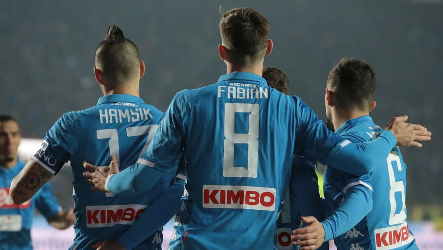 BERGAMO, ITALY - DECEMBER 03:  Fabian Ruiz of SSC Napoli celebrates with his team-mates after scoring the opening goal during the Serie A match between Atalanta BC and SSC Napoli at Stadio Atleti Azzurri d'Italia on December 3, 2018 in Bergamo, Italy.  (Photo by Emilio Andreoli/Getty Images)