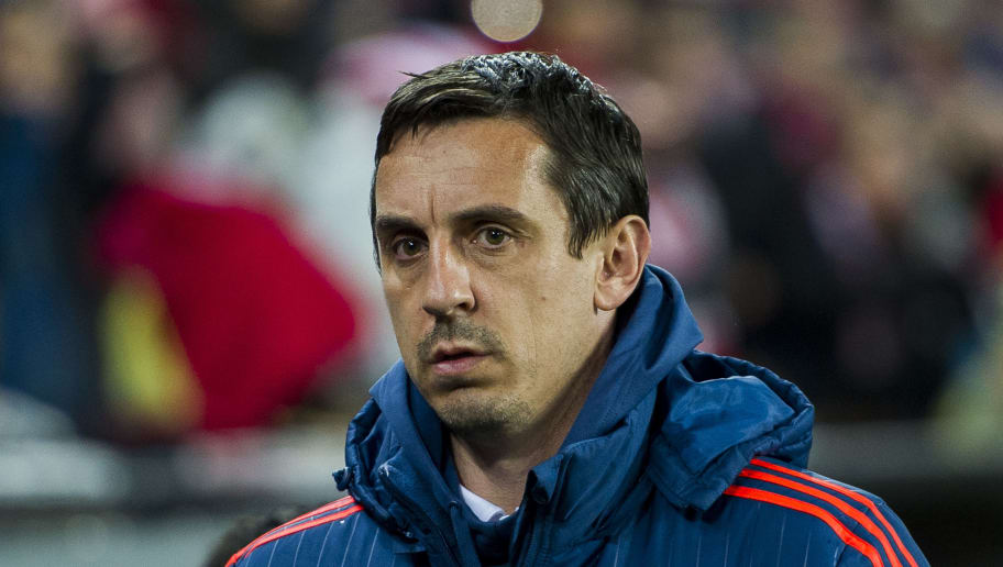 BILBAO, SPAIN - MARCH 10:  Head coach  Gary Neville of Valencia CF looks on prior to the start the UEFA Europa League Round of 16: First Leg match between Athletic Club and Valencia CF at San Mames Stadium on March 10, 2016 in Bilbao, Spain.  (Photo by Juan Manuel Serrano Arce/Getty Images)