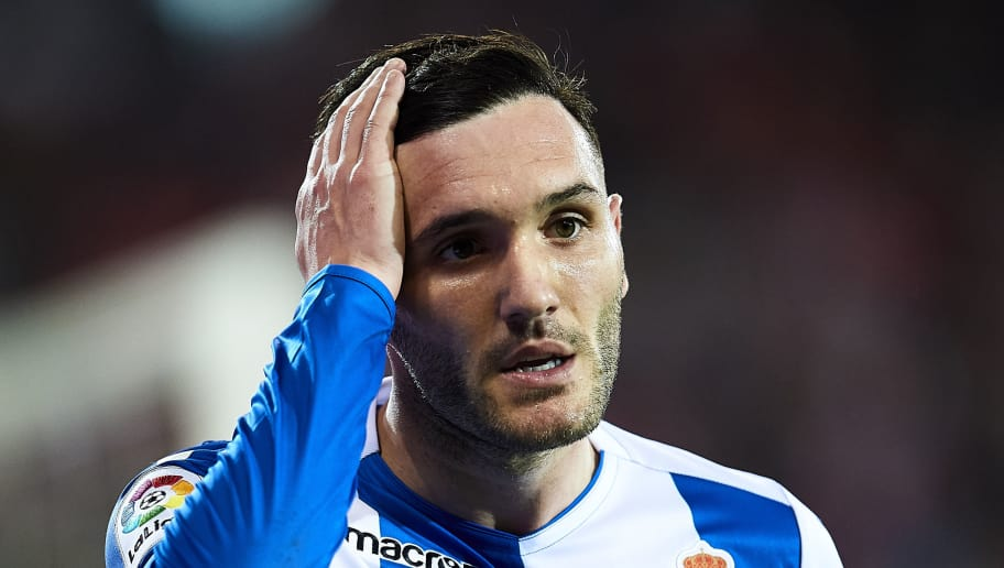 BILBAO, SPAIN - APRIL 14: Lucas Perez of RC Deportivo La Coruna reacts during the La Liga match between Athletic Club Bilbao and RC Deportivo La Coruna at San Mames Stadium on April 14, 2018 in Bilbao, Spain.  (Photo by Juan Manuel Serrano Arce/Getty Images)