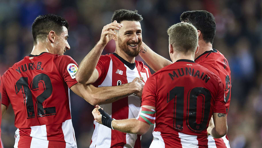 BILBAO, SPAIN - DECEMBER 22: Aritz Aduriz of Athletic Club celebrates with teammates after scoring the opening goal during during the La Liga match between Athletic Club and Real Valladolid CF at San Mames Stadium on December 22, 2018 in Bilbao, Spain. (Photo by Juan Manuel Serrano Arce/Getty Images)