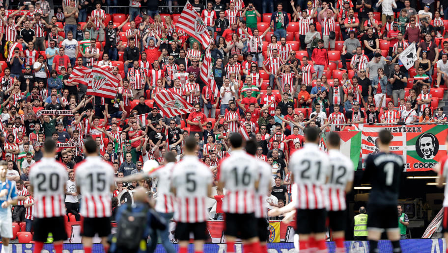 BILBAO, SPAIN - MAY 20: supporters of Athletic de Bilbao during the La Liga Santander  match between Athletic de Bilbao v Espanyol at the Estadio San Mames on May 20, 2018 in Bilbao Spain (Photo by David S. Bustamante/Soccrates/Getty Images)