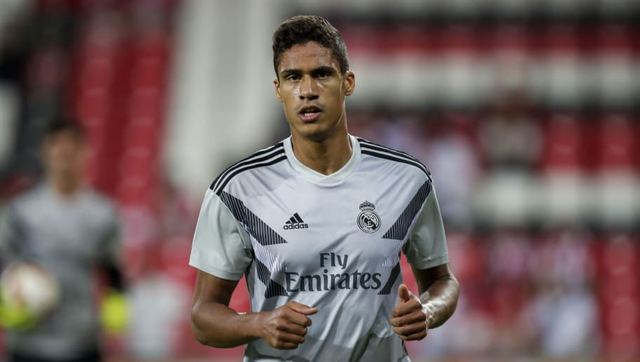 BILBAO, SPAIN - SEPTEMBER 15: Raphael Varane of Real Madrid CF  during the La Liga Santander  match between Athletic de Bilbao v Real Madrid at the Estadio San Mames on September 15, 2018 in Bilbao Spain (Photo by David S. Bustamante/Soccrates/Getty Images)