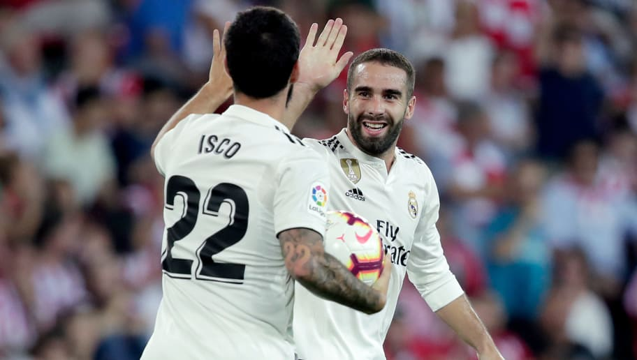 BILBAO, SPAIN - SEPTEMBER 15: Isco of Real Madrid celebrates 1-1 with Dani Carvajal of Real Madrid  during the La Liga Santander  match between Athletic de Bilbao v Real Madrid at the Estadio San Mames on September 15, 2018 in Bilbao Spain (Photo by David S. Bustamante/Soccrates/Getty Images)