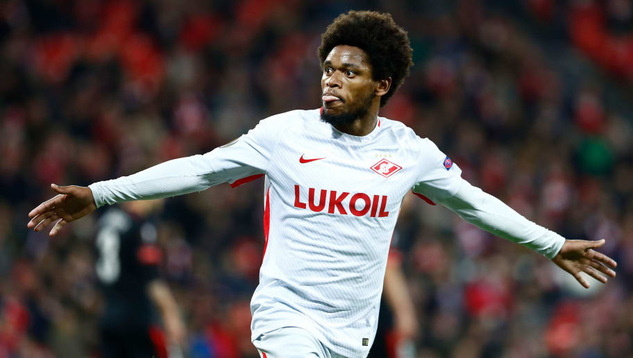 BILBAO, SPAIN - FEBRUARY 22: Luiz Adriano of Spartak Moscow celebrates 0-1 during the UEFA Europa League   match between Athletic de Bilbao v Spartak Moscow at the Estadio San Mames on February 22, 2018 in Bilbao Spain (Photo by David S Bustamante/Soccrates/Getty Images)