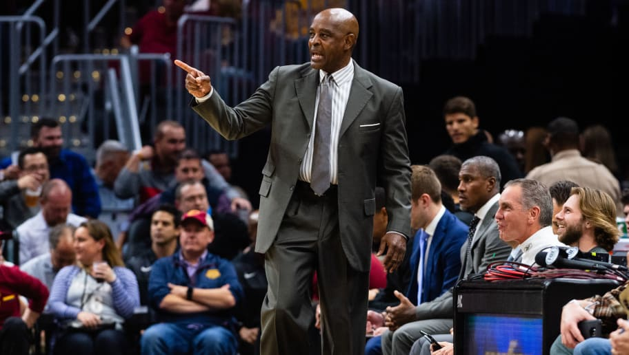 CLEVELAND, OH - OCTOBER 30: Acting head coach Larry Drew of the Cleveland Cavaliers communicates with his players during the first quarter against the Atlanta Hawks at Quicken Loans Arena on October 30, 2018 in Cleveland, Ohio. NOTE TO USER: User expressly acknowledges and agrees that, by downloading and/or using this photograph, user is consenting to the terms and conditions of the Getty Images License Agreement. (Photo by Jason Miller/Getty Images)