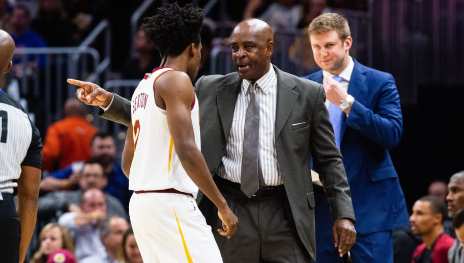CLEVELAND, OH - OCTOBER 30: Collin Sexton #2 of the Cleveland Cavaliers listens to Acting head coach Larry Drew during the first quarter against the Atlanta Hawks at Quicken Loans Arena on October 30, 2018 in Cleveland, Ohio. NOTE TO USER: User expressly acknowledges and agrees that, by downloading and/or using this photograph, user is consenting to the terms and conditions of the Getty Images License Agreement. (Photo by Jason Miller/Getty Images)