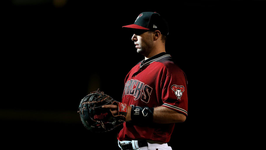 PHOENIX, AZ - SEPTEMBER 09:  Paul Goldschmidt #44 of the Arizona Diamondbacks looks on during a pitching change during the ninth inning of an MLB game against the Atlanta Braves at Chase Field on September 9, 2018 in Phoenix, Arizona.  (Photo by Ralph Freso/Getty Images)