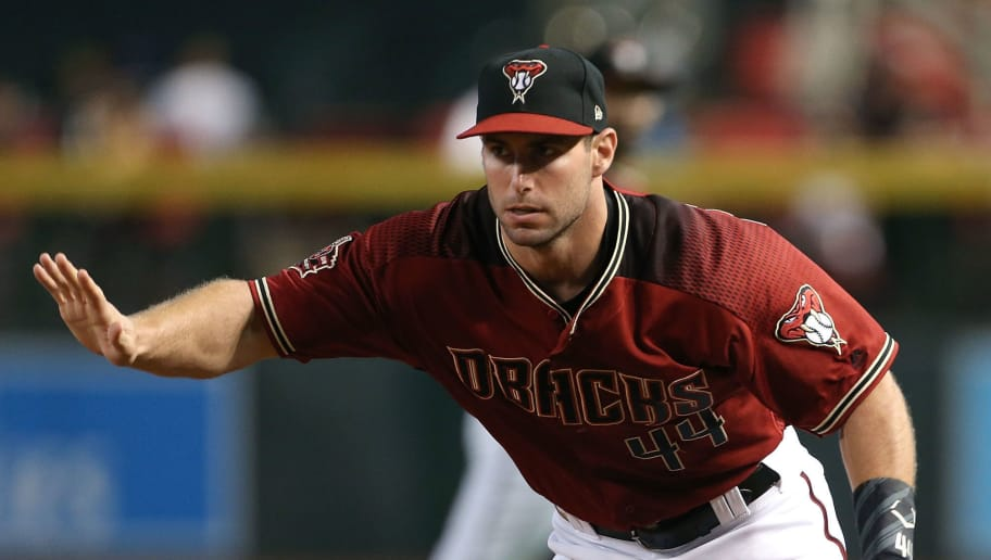 PHOENIX, AZ - SEPTEMBER 09:  Paul Goldschmidt #44 of the Arizona Diamondbacks calls off the pitcher on a ground ball out against the Atlanta Braves during the first inning of an MLB game at Chase Field on September 9, 2018 in Phoenix, Arizona.  (Photo by Ralph Freso/Getty Images)