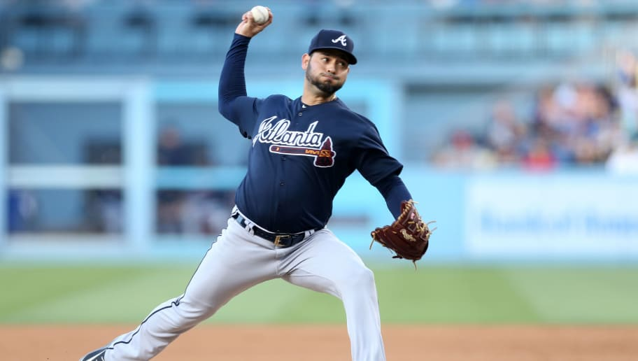 LOS ANGELES, CA - JUNE 09:  Anibal Sanchez #19 of the Atlanta Braves pitches during the game against the Los Angeles Dodgers at Dodger Stadium on June 9, 2018 in Los Angeles, California.  The Braves defeated the Dodgers 5-3.  (Photo by Rob Leiter/MLB Photos via Getty Images)
