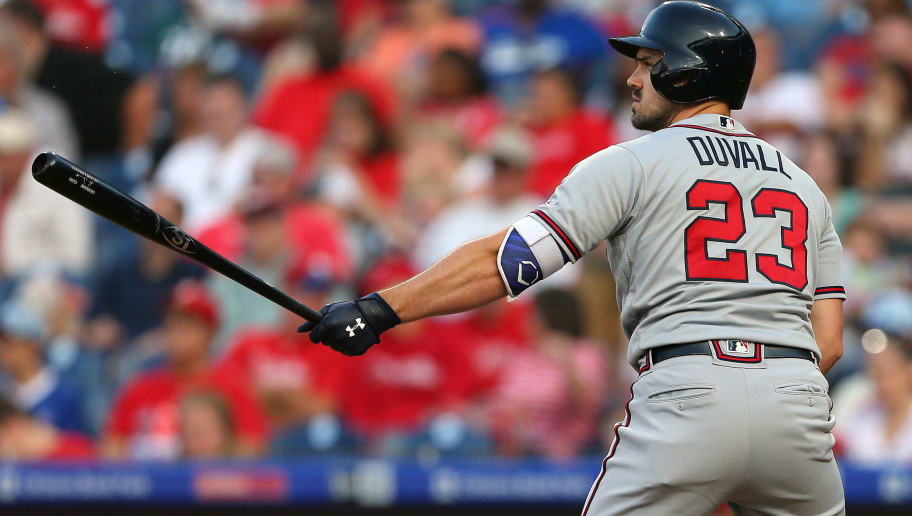 PHILADELPHIA, PA - SEPTEMBER 30: Adam Duvall #23 of the Atlanta Braves during a game against the Philadelphia Phillies at Citizens Bank Park on September 30, 2018 in Philadelphia, Pennsylvania. The Phillies defeated the Braves 3-1. (Photo by Rich Schultz/Getty Images)