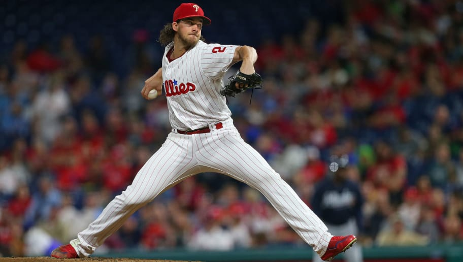 PHILADELPHIA, PA - SEPTEMBER 29: Aaron Nola #27 of the Philadelphia Phillies in action against the Atlanta Braves during a game at Citizens Bank Park on September 29, 2018 in Philadelphia, Pennsylvania. (Photo by Rich Schultz/Getty Images)