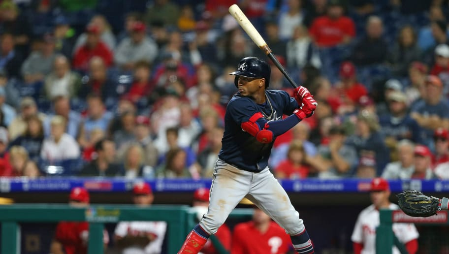 PHILADELPHIA, PA - SEPTEMBER 28: Ozzie Albies #1 of the Atlanta Braves in action against the Philadelphia Phillies during a game at Citizens Bank Park on September 28, 2018 in Philadelphia, Pennsylvania. The Braves won 10-2. (Photo by Rich Schultz/Getty Images)
