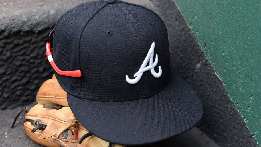 WASHINGTON, DC - JUNE 14:  A Atlanta Braves hat on the dugout stairs during the game against the Washington Nationals at Nationals Park on June 14, 2017 in Washington, DC.  (Photo by G Fiume/Getty Images)