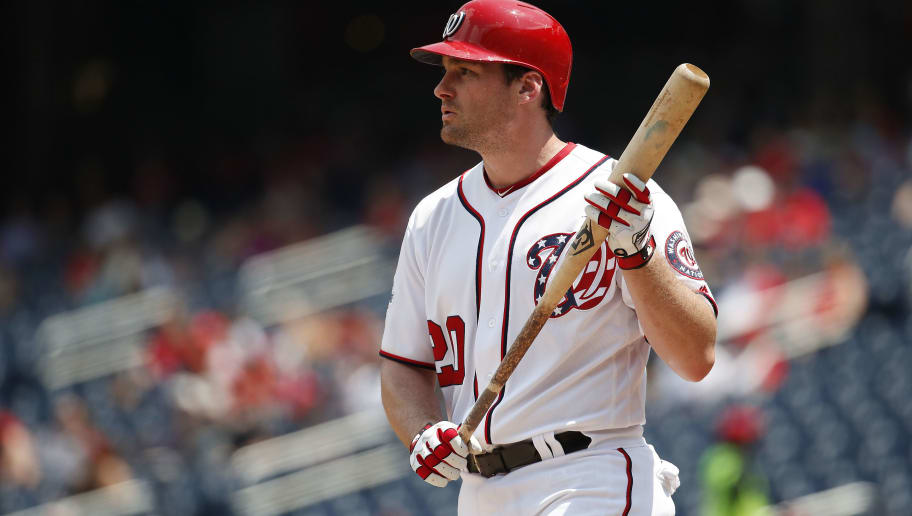WASHINGTON, DC - AUGUST 07: Daniel Murphy #20 of the Washington Nationals bats against the Atlanta Braves in the second inning at Nationals Park on August 7, 2018 in Washington, DC. (Photo by Patrick McDermott/Getty Images)