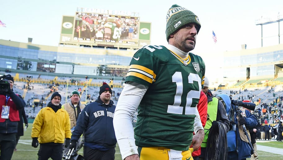 GREEN BAY, WISCONSIN - DECEMBER 09:  Aaron Rodgers #12 of the Green Bay Packers walks off the field after a game against the Atlanta Falcons at Lambeau Field on December 09, 2018 in Green Bay, Wisconsin. (Photo by Stacy Revere/Getty Images)