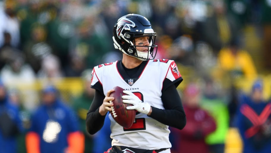 GREEN BAY, WISCONSIN - DECEMBER 09:  Matt Ryan #2 of the Atlanta Falcons looks to pass during a game against the Green Bay Packers at Lambeau Field on December 09, 2018 in Green Bay, Wisconsin.   The Packers defeated the Falcons 34-20.  (Photo by Stacy Revere/Getty Images)