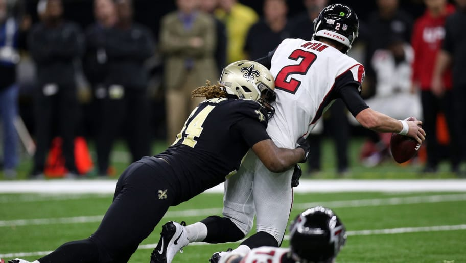 NEW ORLEANS, LA - NOVEMBER 22:  Cameron Jordan #94 of the New Orleans Saints sacks Matt Ryan #2 of the Atlanta Falcons at the Mercedes-Benz Superdome on November 22, 2018 in New Orleans, Louisiana.  (Photo by Chris Graythen/Getty Images)