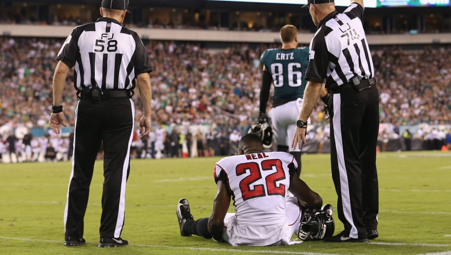 PHILADELPHIA, PA - SEPTEMBER 06:  Keanu Neal #22 of the Atlanta Falcons sits on the ground after suffering an apparent injury during the first half against the Philadelphia Eagles at Lincoln Financial Field on September 6, 2018 in Philadelphia, Pennsylvania.  (Photo by Mitchell Leff/Getty Images)