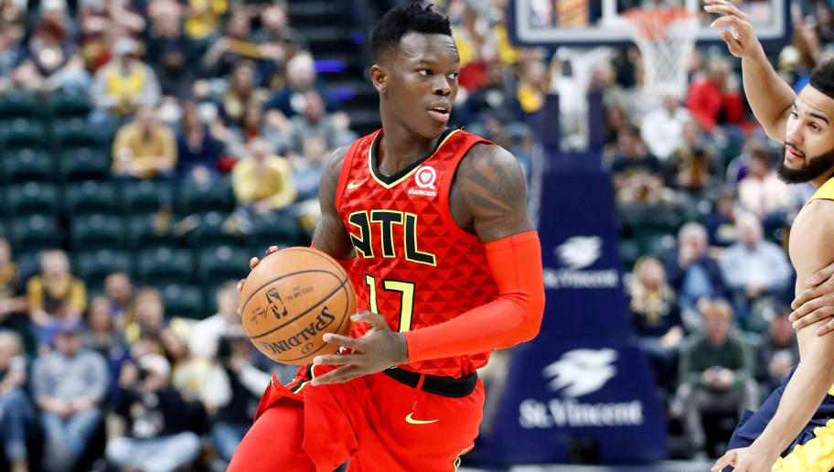 INDIANAPOLIS, IN - FEBRUARY 23:  Dennis Schroder #17 of the Atlanta Hawks dribbles the ball against the Indiana Pacers during the game at Bankers Life Fieldhouse on February 23, 2018 in Indianapolis, Indiana.  NOTE TO USER: User expressly acknowledges and agrees that, by downloading and or using this photograph, User is consenting to the terms and conditions of the Getty Images License Agreement.  (Photo by Andy Lyons/Getty Images)