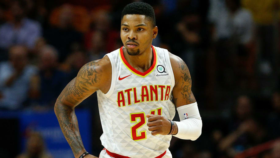 MIAMI, FL - NOVEMBER 27:  Kent Bazemore #24 of the Atlanta Hawks reacts after a basket against the Miami Heat during the second half at American Airlines Arena on November 27, 2018 in Miami, Florida. NOTE TO USER: User expressly acknowledges and agrees that, by downloading and or using this photograph, User is consenting to the terms and conditions of the Getty Images License Agreement.  (Photo by Michael Reaves/Getty Images)
