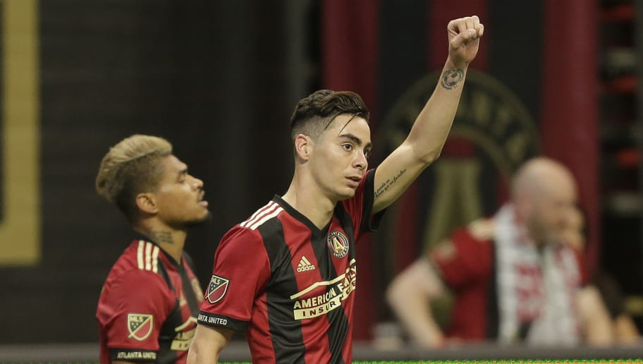 ATLANTA, UNITED STATES - APRIL 28: Miquel Almiron of Atlanta United celebrates 3-1  during the    match between Atlanta United FC v Montreal Impact at the Mercedes-Benz Stadium on April 28, 2018 in Atlanta United States (Photo by Peter Lous/Soccrates/Getty Images)