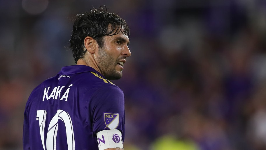 ORLANDO, FL - JULY 21: Kaka of Orlando City during the MLS match between Atlanta United and Orlando City at Orlando City Stadium on July 21, 2017 in Orlando, Florida. (Photo by Robbie Jay Barratt - AMA/Getty Images)