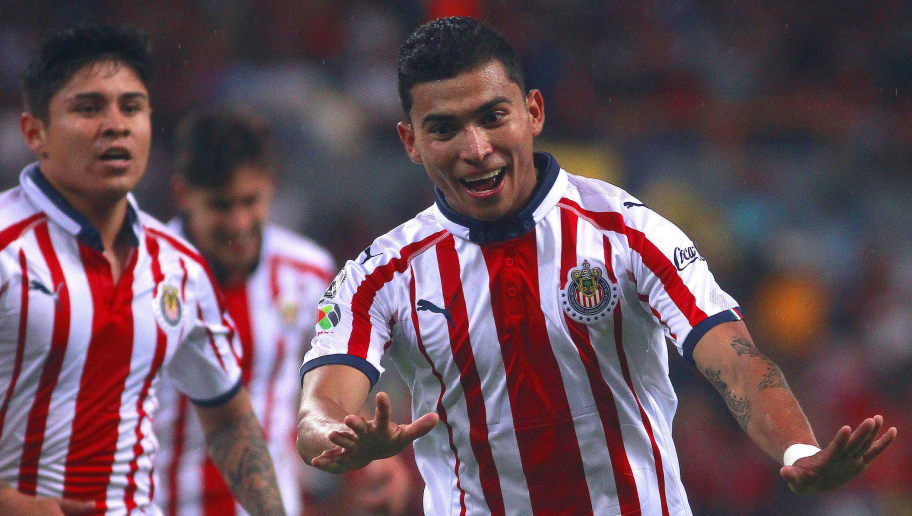 a23166e6ee0 GUADALAJARA, MEXICO - AUGUST 24: Orbelin Pineda (C) of Chivas celebrates  after
