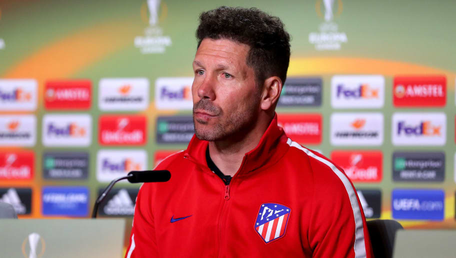 MADRID, SPAIN - MAY 02:  Head coach Diego Simeone of Atletico Madrid speaks during a press conferece at Estadio Wanda Metropolitano on May 2, 2018 in Madrid, Spain.  (Photo by Catherine Ivill/Getty Images)