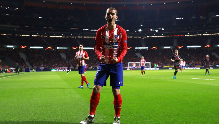 MADRID, SPAIN - MAY 03:  Antoine Griezmann of Atletico Madrid reacts during the UEFA Europa League Semi Final second leg match between Atletico Madrid  and Arsenal FC at Estadio Wanda Metropolitano on May 3, 2018 in Madrid, Spain.  (Photo by Gonzalo Arroyo Moreno/Getty Images)