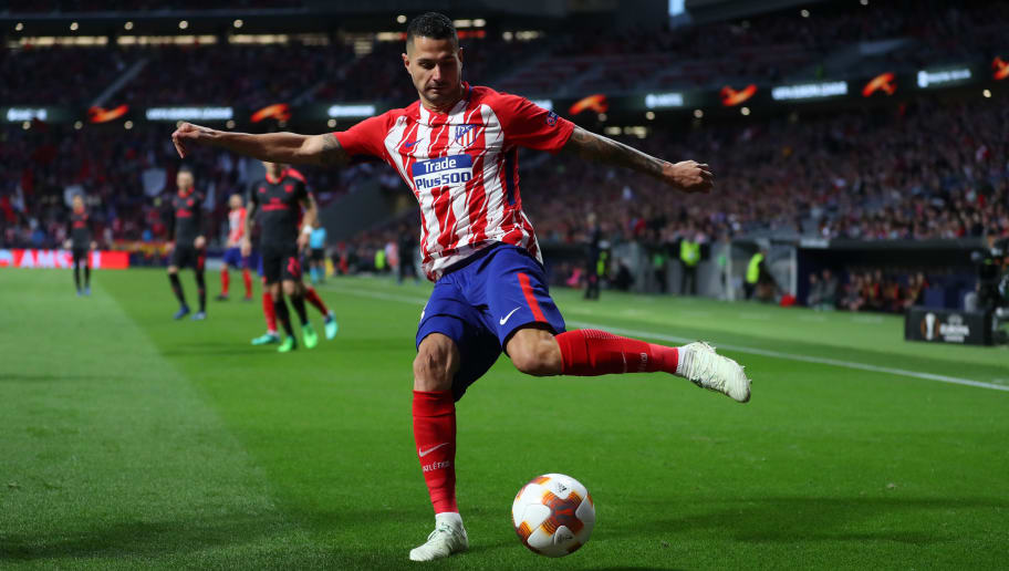 MADRID, SPAIN - MAY 03: Vitolo of Atletico Madrid during the UEFA Europa League Semi Final second leg match between Atletico Madrid  and Arsenal FC at Estadio Wanda Metropolitano on May 3, 2018 in Madrid, Spain. (Photo by Catherine Ivill/Getty Images)
