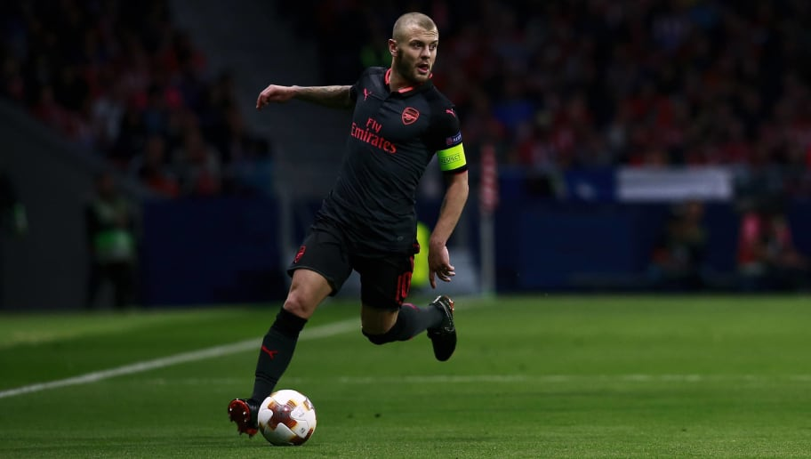 MADRID, SPAIN - MAY 03: Jack Wilshere of Arsenal FC controls the ball during the UEFA Europa League Semi Final second leg match between Atletico Madrid  and Arsenal FC at Estadio Wanda Metropolitano on May 3, 2018 in Madrid, Spain. (Photo by Gonzalo Arroyo Moreno/Getty Images) *** Local caption *** Jack Wilshere