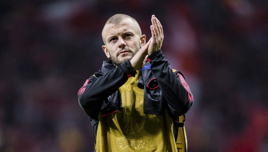 MADRID, SPAIN - MAY 03: Jack Wilshere of Arsenal FC reacts after the UEFA Europa League 2017-18 semi-finals (2nd leg) match between Atletico de Madrid and Arsenal FC at Wanda Metropolitano on May 03 2018 in Madrid, Spain. (Photo by Power Sport Images/Getty Images)