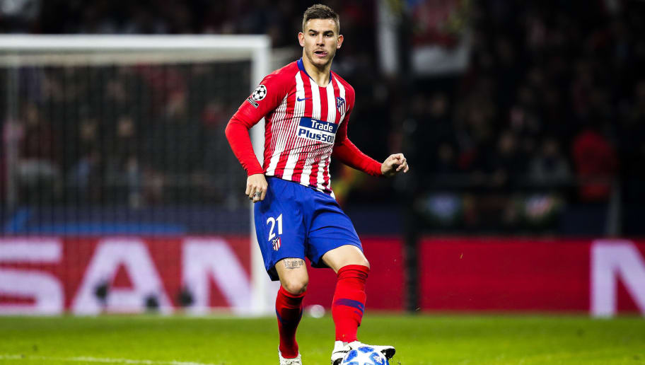 MADRID, SPAIN - NOVEMBER 28: Lucas Hernandez of Atletico Madrid during the UEFA Champions League  match between Atletico Madrid v AS Monaco at the Estadio Wanda Metropolitano on November 28, 2018 in Madrid Spain (Photo by David S. Bustamante/Soccrates/Getty Images)