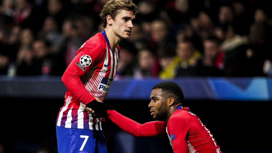 MADRID, SPAIN - NOVEMBER 28: Antoine Griezmann of Atletico Madrid, Thomas Lemar of Atletico Madrid during the UEFA Champions League  match between Atletico Madrid v AS Monaco at the Estadio Wanda Metropolitano on November 28, 2018 in Madrid Spain (Photo by David S. Bustamante/Soccrates/Getty Images)