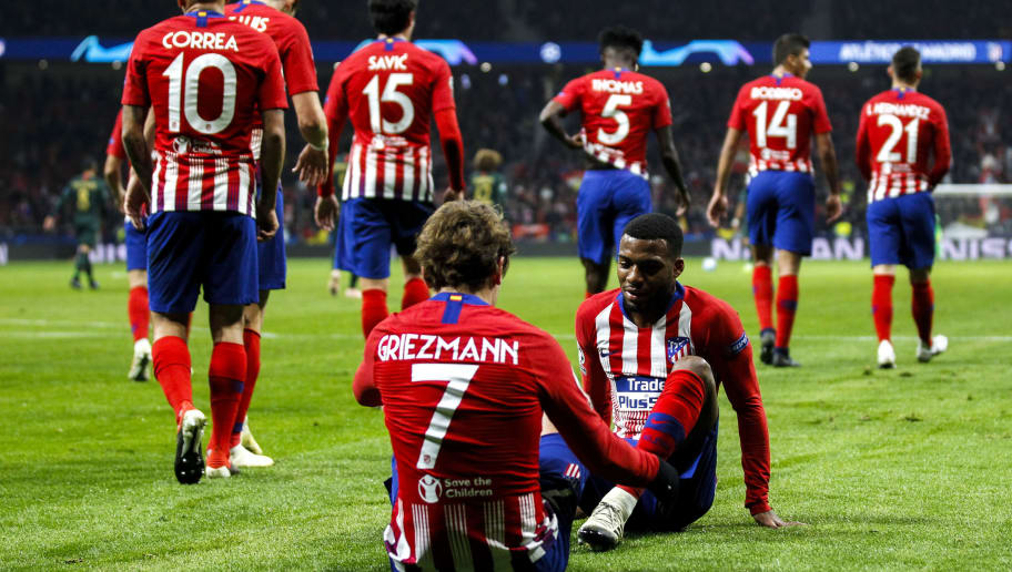 MADRID, SPAIN - NOVEMBER 28: Angel Correa of Atletico Madrid, Filipe Luis of Atletico Madrid, Savic of Atletico Madrid, Antoine Griezmann of Atletico Madrid, Thomas Lemar of Atletico Madrid, Thomas of Atletico Madrid, Rodri of Atletico Madrid, Lucas Hernandez of Atletico Madrid during the UEFA Champions League  match between Atletico Madrid v AS Monaco at the Estadio Wanda Metropolitano on November 28, 2018 in Madrid Spain (Photo by David S. Bustamante/Soccrates/Getty Images)