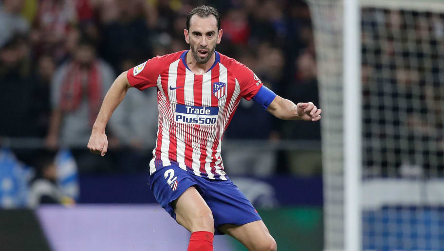 MADRID, SPAIN - NOVEMBER 10: Diego Godin of Atletico Madrid  during the La Liga Santander  match between Atletico Madrid v Athletic de Bilbao at the Estadio Wanda Metropolitano on November 10, 2018 in Madrid Spain (Photo by David S Bustamante/Soccrates /Getty Images)