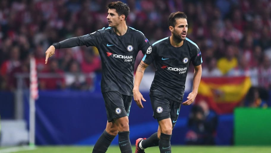 MADRID, SPAIN - SEPTEMBER 27:  Alvaro Morata of Chelsea celebrates with Cesc Fabregas of Chelsea after he scores his sides first goal during the UEFA Champions League group C match between Atletico Madrid and Chelsea FC at Estadio Wanda Metropolitano on September 27, 2017 in Madrid, Spain.  (Photo by David Ramos/Getty Images)