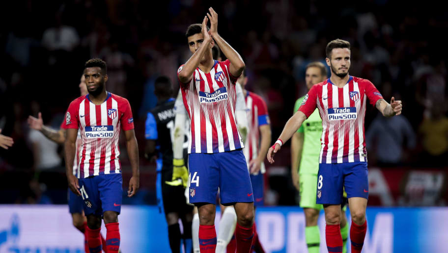 MADRID, SPAIN - OCTOBER 3: Thomas Lemar of Atletico Madrid, Rodri of Atletico Madrid, Saul Niguez of Atletico Madrid during the UEFA Champions League  match between Atletico Madrid v Club Brugge at the Estadio Wanda Metropolitano on October 3, 2018 in Madrid Spain (Photo by David S. Bustamante/Soccrates/Getty Images)