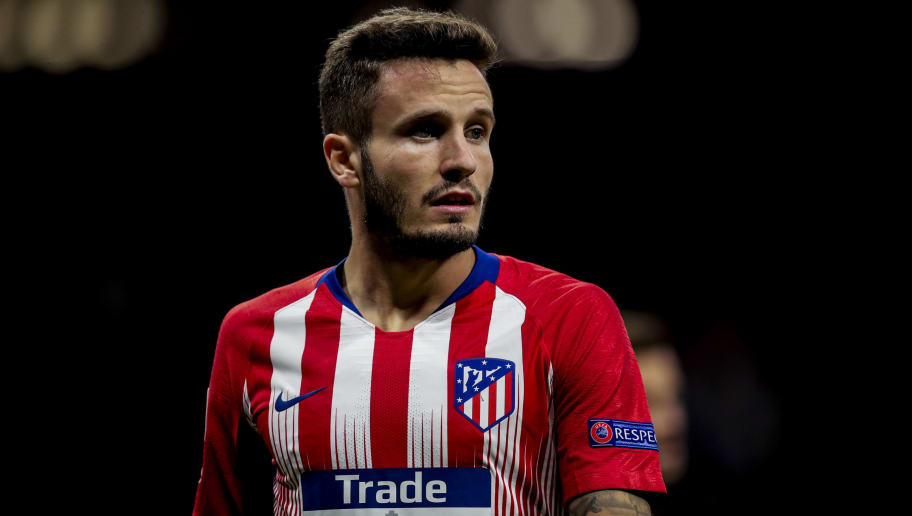 MADRID, SPAIN - OCTOBER 3: Saul Niguez of Atletico Madrid during the UEFA Champions League  match between Atletico Madrid v Club Brugge at the Estadio Wanda Metropolitano on October 3, 2018 in Madrid Spain (Photo by David S. Bustamante/Soccrates/Getty Images)