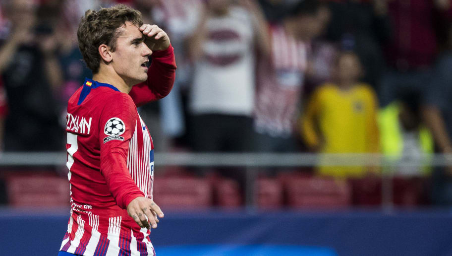 MADRID, SPAIN - OCTOBER 3: Antoine Griezmann of Atletico Madrid during the UEFA Champions League  match between Atletico Madrid v Club Brugge at the Estadio Wanda Metropolitano on October 3, 2018 in Madrid Spain (Photo by David S. Bustamante/Soccrates/Getty Images)