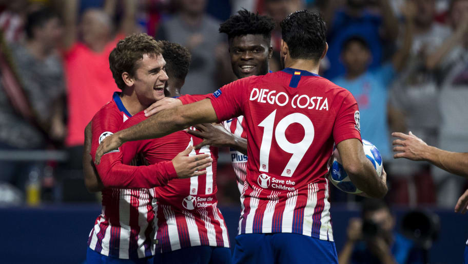 MADRID, SPAIN - OCTOBER 3: Antoine Griezmann of Atletico Madrid, Thomas Lemar of Atletico Madrid, Diego Costa of Atletico Madrid,  Thomas of Atletico Madrid during the UEFA Champions League  match between Atletico Madrid v Club Brugge at the Estadio Wanda Metropolitano on October 3, 2018 in Madrid Spain (Photo by David S. Bustamante/Soccrates/Getty Images)